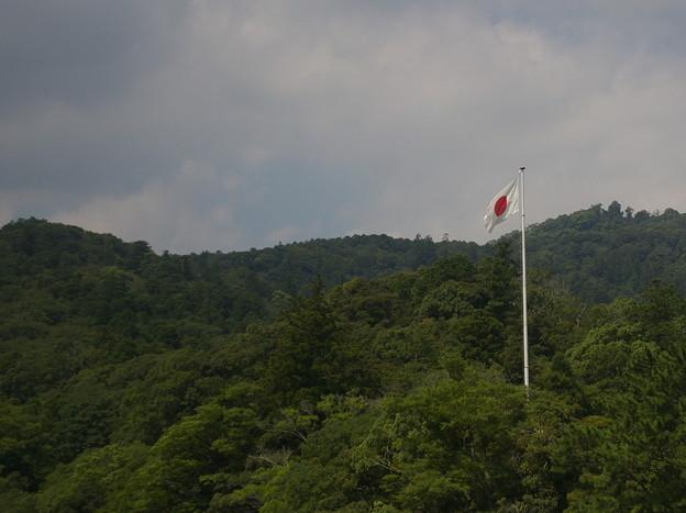 伊勢神宮の森に日の丸