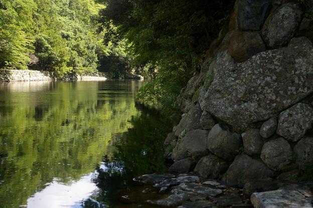 川で手を清める
