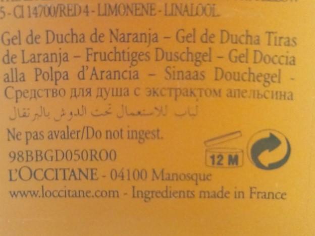 L'OCCITANE RUBAN D'ORANGE PULPE DOUCHE SUNNY SHOWER