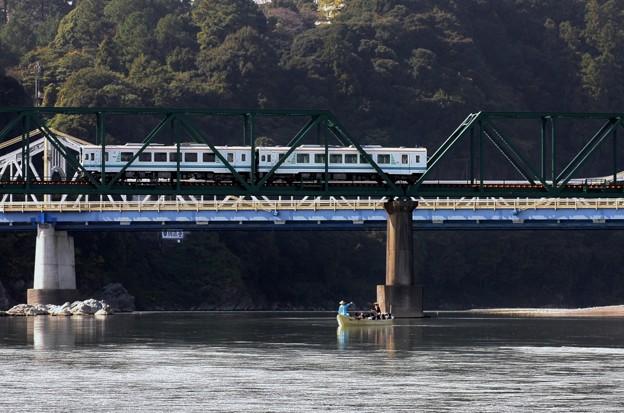 昔写真天竜川川下り舟と天竜浜名湖鉄道
