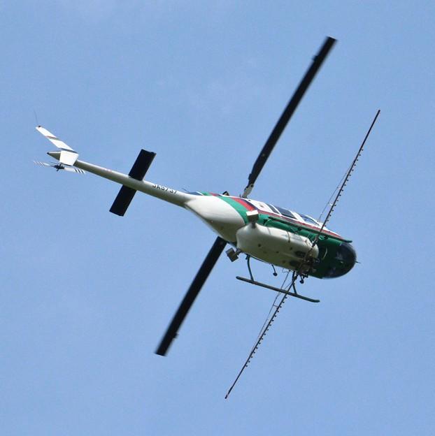森林公園薬剤散布明朝の訓練飛行