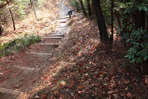 富幕山奥山コース登山道階段の右側高い所歩けるよう整備しました。