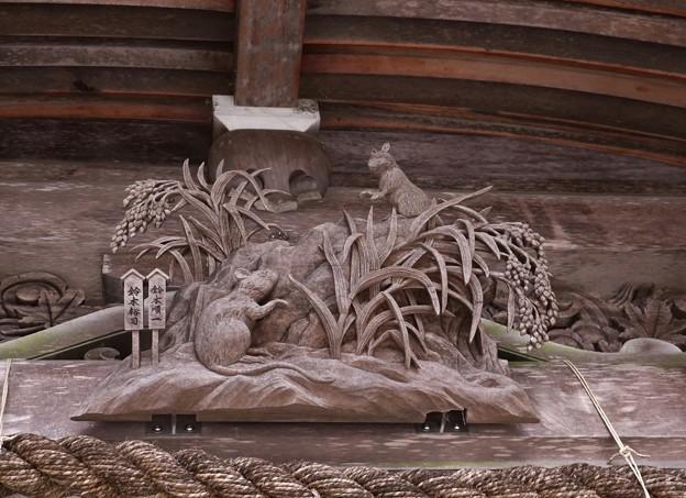 秋葉神社本殿の(干支えと) 「子、ねずみ」