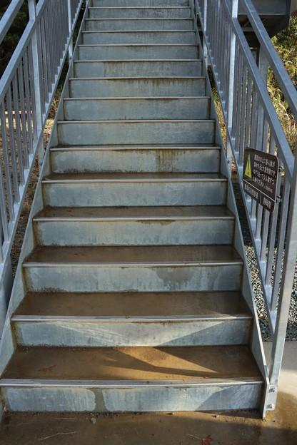 富幕山休憩舎展望デッキの階段に水が溜りこれから冬は氷って危険です。
