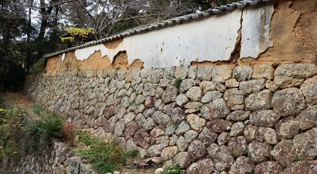こちらの築地塀室町時代につくられたもの。白い漆喰の下には、日干し煉瓦が見えてきています。なるほど工法がよくわかります。