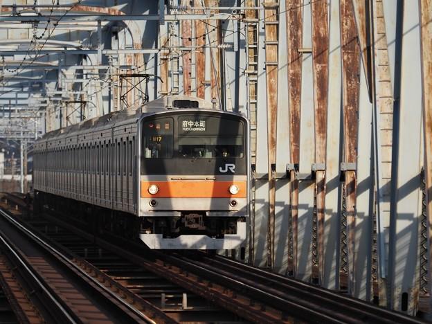 江戸川鉄橋上り列車進行中之図