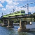 宇治川鉄橋上り列車進行之図