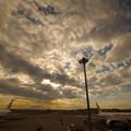 日暮れる飛行場
