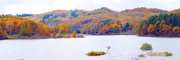 恩原湖の秋景