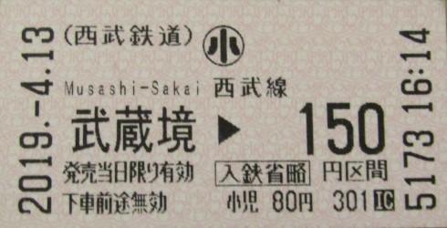 No.424 SW01 西武鉄道 武蔵境駅 乗車券 Seibu Railway Musashi-Sakai Station