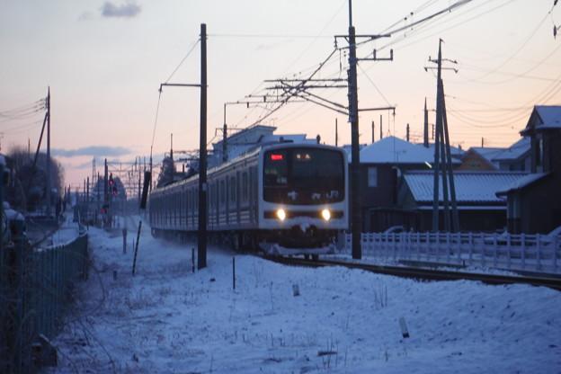 ブレブレの雪の日光線