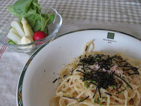 明太子スパゲッティ&ミニサラダ