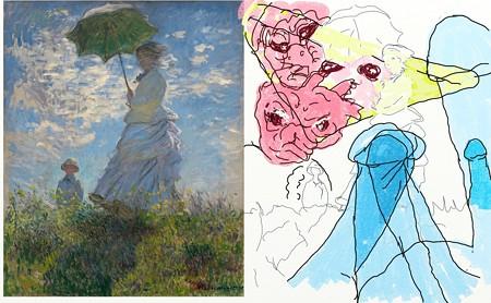 散歩、日傘をさす女