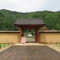 写真: 江馬氏館(飛騨市。江馬氏館跡庭園)主門・西側土塀・西堀
