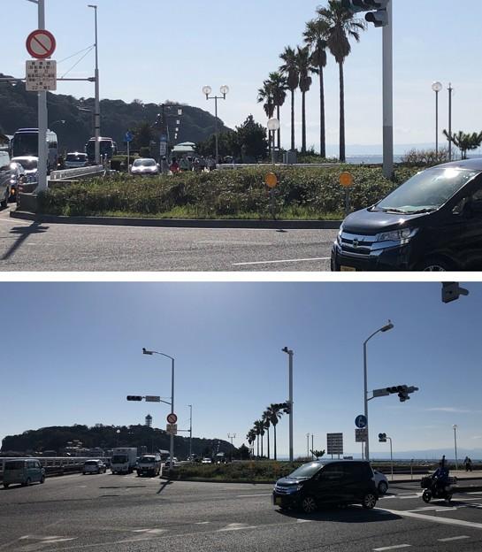 江の島入口交差点(藤沢市)奥、龍灯篭