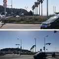 写真: 江の島入口交差点(藤沢市)奥、龍灯篭