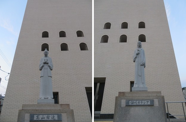 高山右近像 ・細川ガラシア像(中央区。大阪カテドラル聖マリア大聖堂)