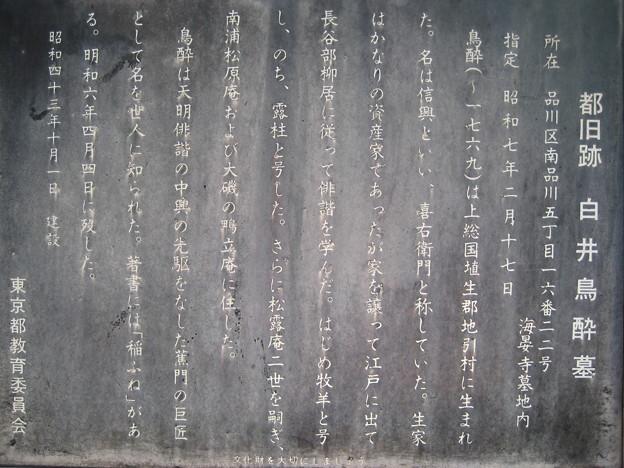 Photos: 10.11.02.海晏寺(南品川)白井鳥酔墓