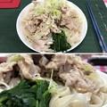 Photos: 広島「瀬戸のもち豚 せと姫」細切れ + 三河大麦きしめん