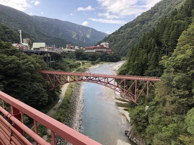 黒部峡谷鉄道 山彦橋より旧山彦橋(黒部市)