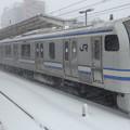 JR東日本横浜支社E217系(雪の津田沼駅にて)