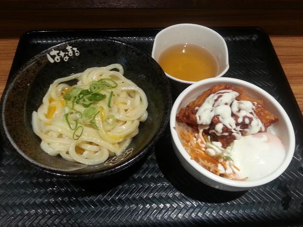 はなまるうどん かま玉うどん(小)&唐揚げ丼セット