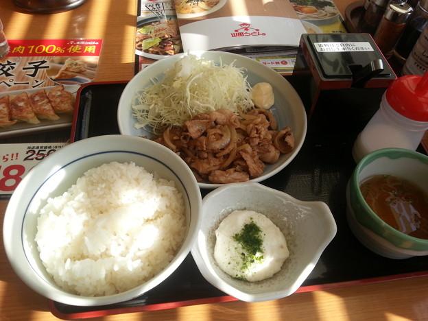 山田うどん 生姜焼き定食 ご飯大盛り♪