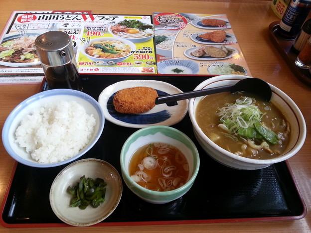 山田うどん カレーそば 中ライス コロッケ(クーポン無料)