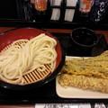 Photos: 丸亀製麺 ざるうどん(大) ちくわ天 長なす 天ぷら