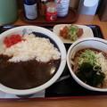写真: 山田うどん 辛口カレー ライス大盛り&冷たぬきそば 唐揚げ
