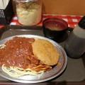Photos: ミートソース ハムカツ 味噌汁付き
