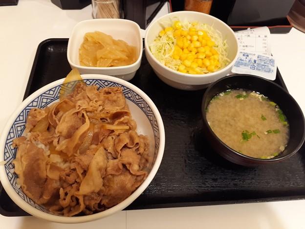 ねぎだく牛丼 サラダ 味噌汁セット