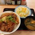 Photos: 松屋 焼き牛めし 大盛り 野菜セット