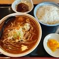 Photos: 山田うどん マーラーうどん ライス中 ミニハンバーグ