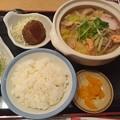 Photos: ちゃんぽん風 煮込み鍋焼うどん ライス中 ミニハンバーグ