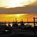 朝焼けの中の漁船たち