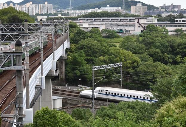 緑あふれる中での地下鉄と新幹線の交差