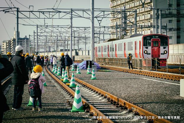 熊本駅在来線高架ウォーキング。