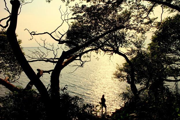 琵琶湖の釣り人