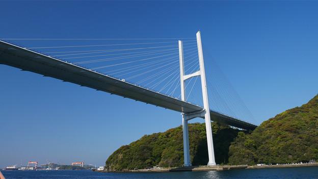 長崎港ターミナルから軍艦島クルーズ (8) 女神大橋