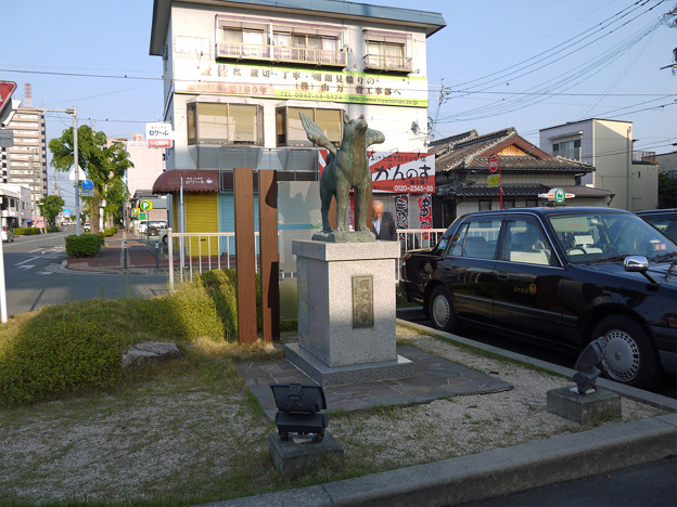 羽犬塚駅の羽犬の像 (2)
