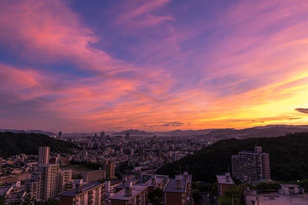 お盆の夕陽