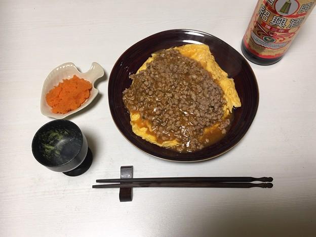 炒り卵のひき肉餡かけ