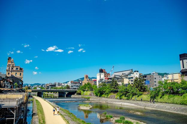 写真: 鴨川と青い空