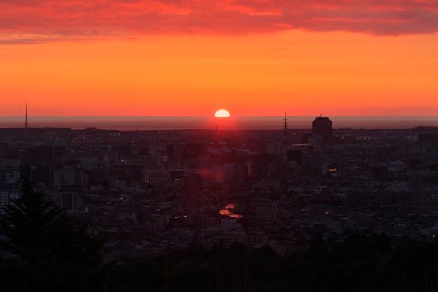 写真: 夕陽と浅野川