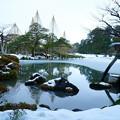 Photos: 雪の兼六園 徽軫灯籠と唐崎松