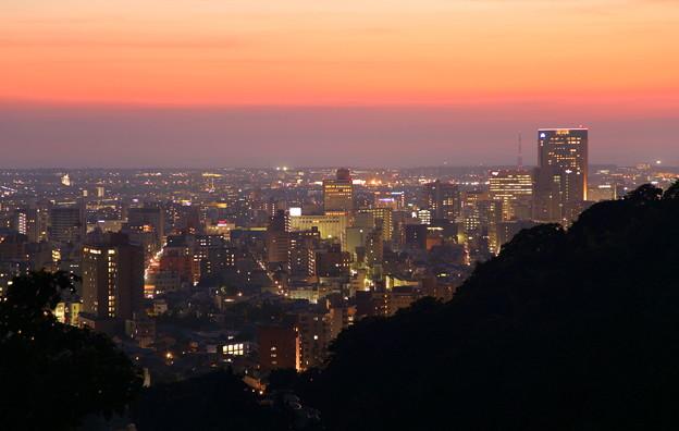 金沢市の夜景と夕焼け
