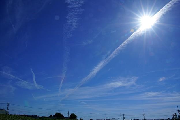 太陽と飛行機雲