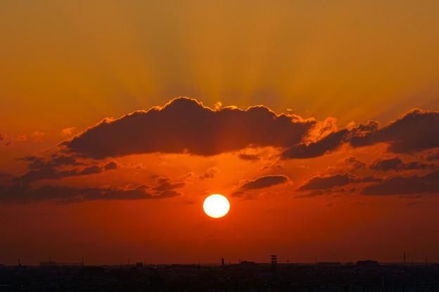 夕日と光芒