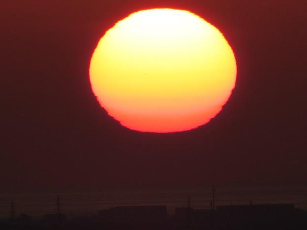 巨大な夕日 (◎_◎;)